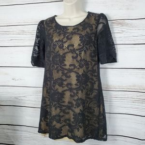 Angie | Floral Lace Mini Dress w Nude Underlay